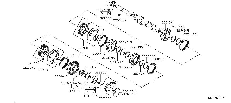 Nissan Sentra Gear 3RD Input Shaft. Ring Snap. MAIN