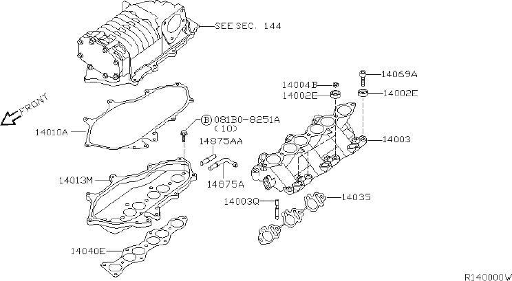 Nissan Frontier Supercharger Gasket (Upper). INTAKE