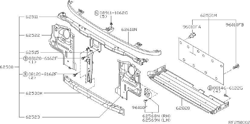 Nissan PICKUP Radiator Support Splash Shield Clip. APRON