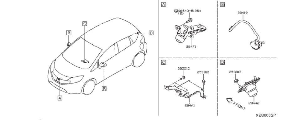 Nissan Versa Note Wire Earth Bonding. AUDIO, UNIT, ANTENNA