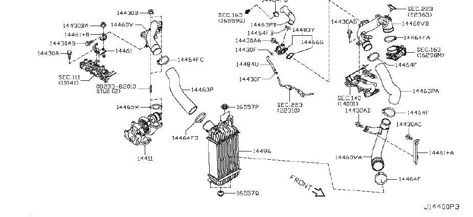 Nissan Juke Turbocharger Inlet Hose. INTERCOOLER, PIPING