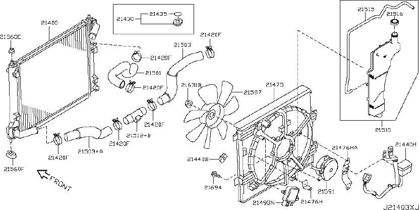 Nissan Juke Radiator Coolant Hose (Lower). FITTING