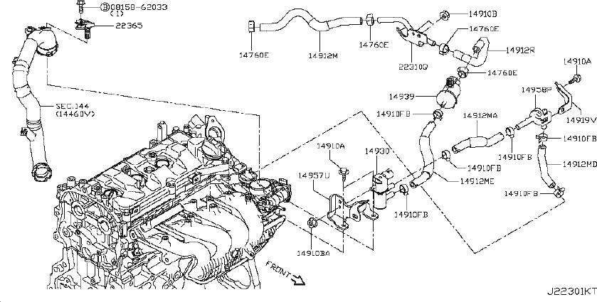 Nissan Juke Hose Fuel Evaporation Control. PIPING