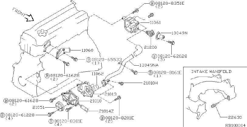 Nissan Altima Engine Coolant Outlet Flange. COOLING