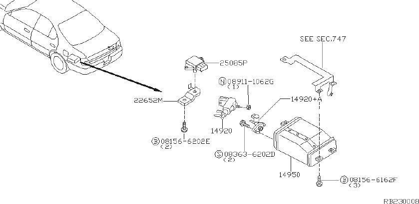 Nissan Maxima Vapor Canister Purge Solenoid. CAL, FED