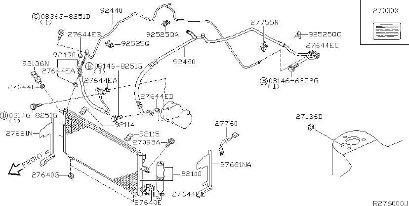 Nissan Altima A/c refrigerant line hold down. Air