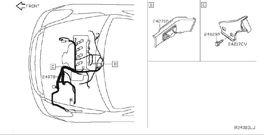 Nissan Altima Bracket Harness Clip. ENGINE, ROOM, BODY