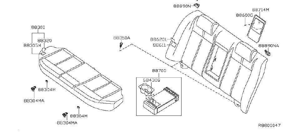 Nissan Altima Seat Cover (Rear). Trim, Interior, Body