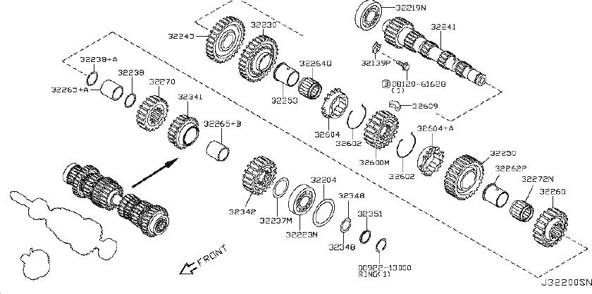 Nissan Altima Gear 6TH, Main Shaft. INPUT, TRANSMISSION