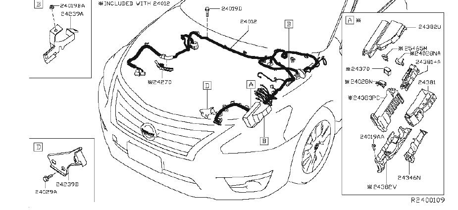 Nissan Altima Engine Wiring Harness. FRONT, END, ROOM