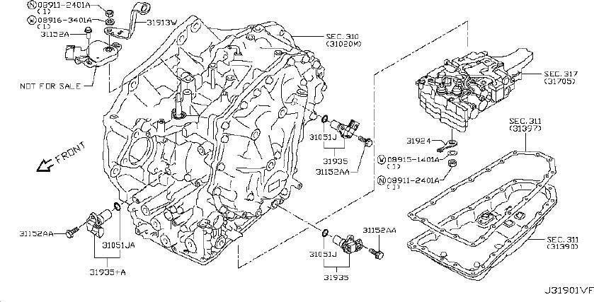Nissan Altima Vehicle Speed Sensor. CVT, PRIMARY, CONTROL