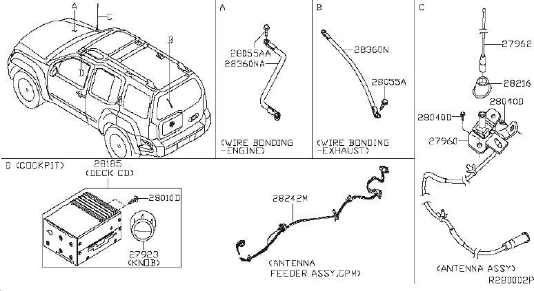 Nissan Xterra Wire Earth Bonding. AUDIO, ANTENNA, UNIT