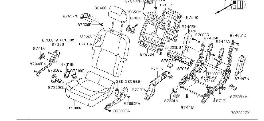 Nissan Pathfinder Seat Back Frame (Front). MANUAL, FOLD