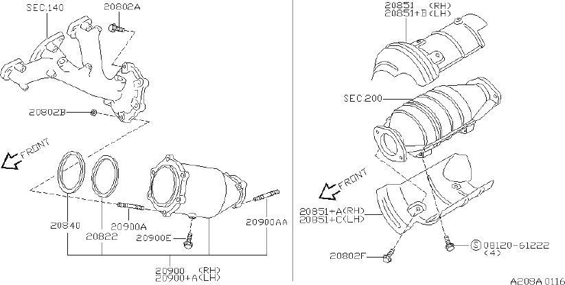 Nissan Pathfinder Catalytic Converter Heat Shield (Lower