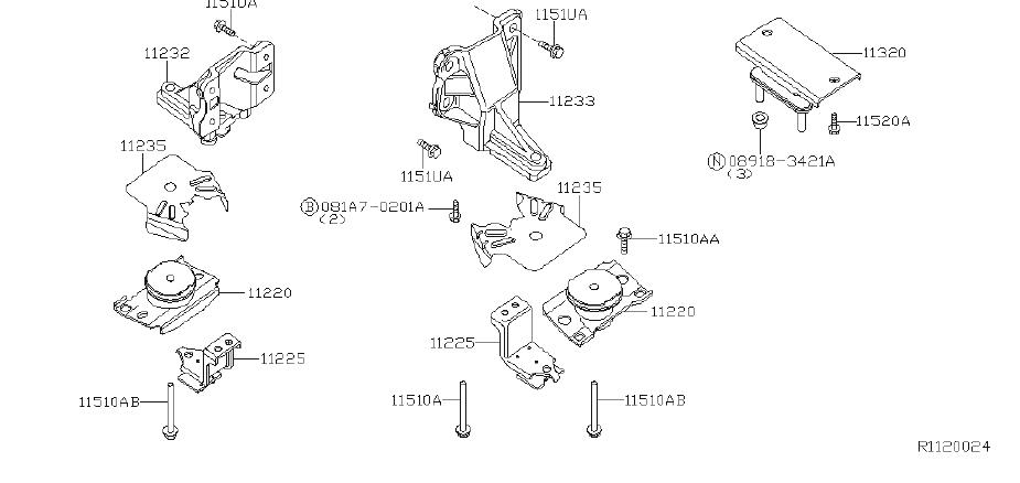 Nissan Pathfinder Engine Mount Bolt. MOUNTING, LWB, MWB