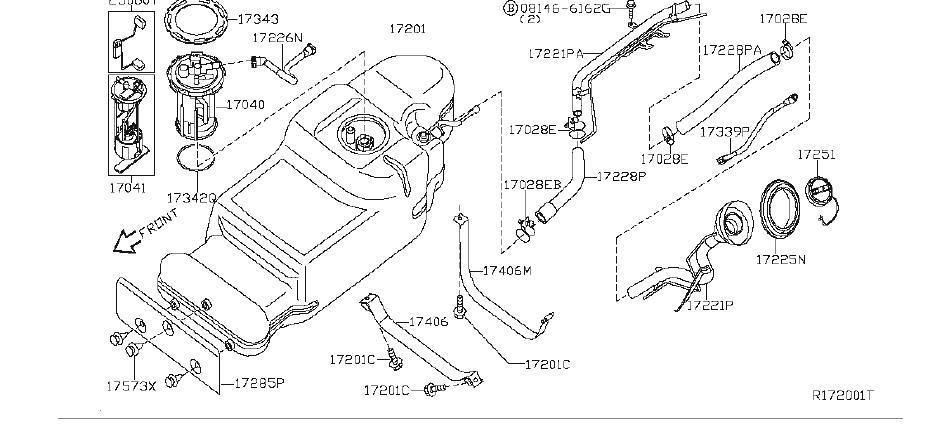 Nissan Pathfinder Fuel Pump With Module Filter. Pump Fuel