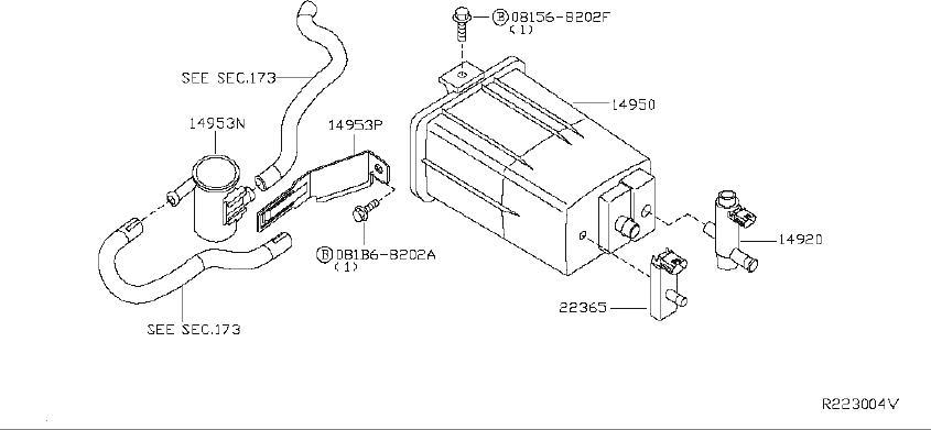 Nissan Pathfinder Hose Fuel Evaporation Control. REAR