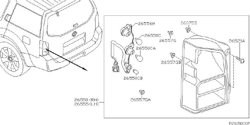 Nissan Pathfinder Tail Light Harness (Rear). System, LAMP