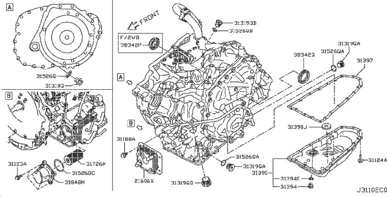 Nissan Pathfinder Seal O Ring. CVT, CONVERTER, HOUSING