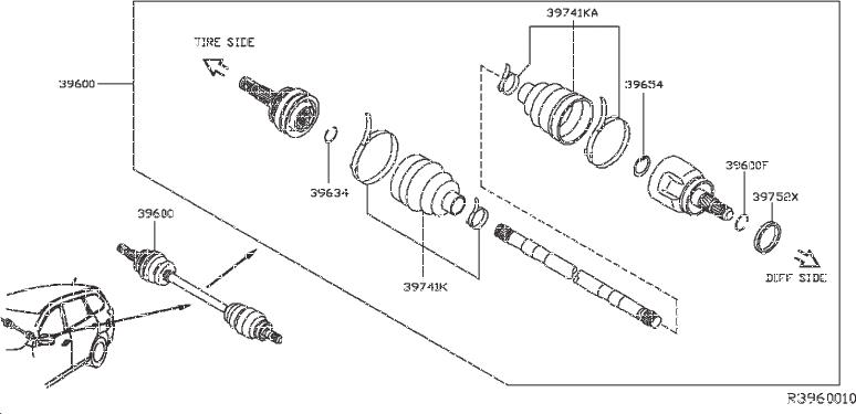 Nissan Pathfinder Repair Kit Dust Boot, Drive Shaft. (Rear