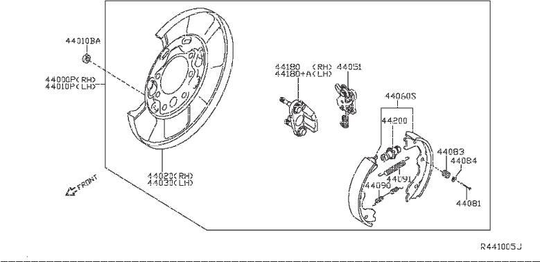 Nissan Pathfinder Brake Dust Shield (Left, Rear). PARKING