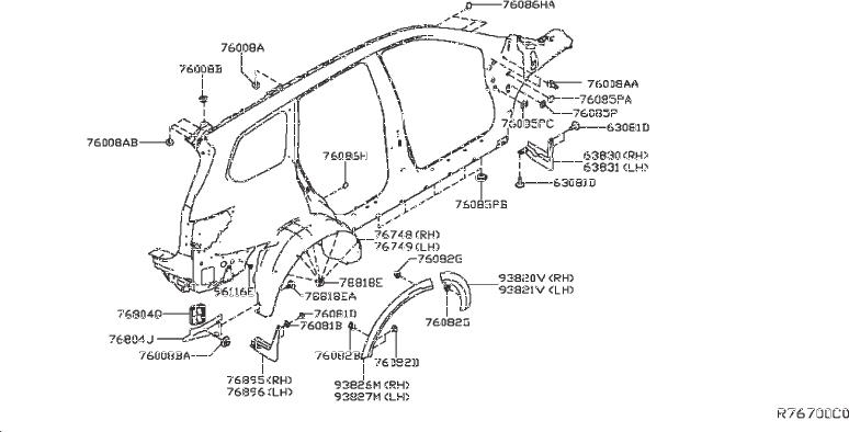 Nissan Pathfinder Wheel Arch Molding (Left, Front, Rear