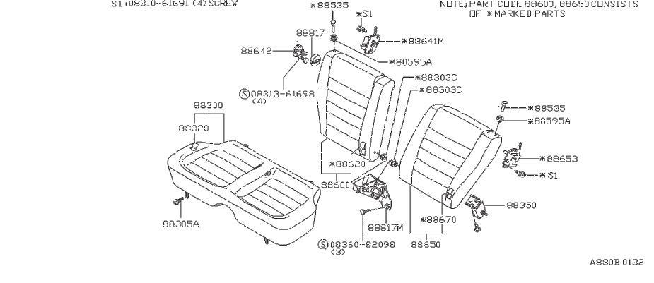 Nissan Pulsar NX Knob Lever, Seat. Knob R/S Back. (Rear