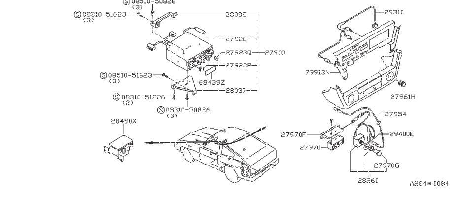 Nissan 280ZX Cable Antenna. Condenser Alternator