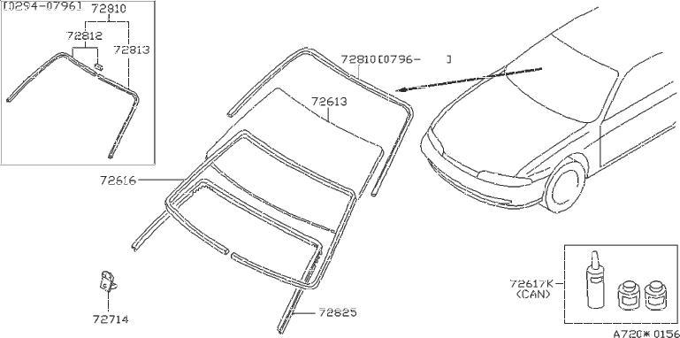 Nissan Pulsar NX Sealant Kit Glass. GUM, HAW, FRONT