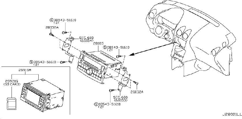 Nissan Rogue Radio Control Unit. AUDIO, YEAR, MODEL