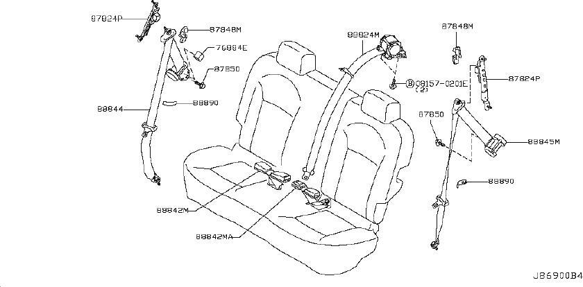 Nissan X-Trail Seat Belt Guide (Rear). BACK, HATCH, DOOR