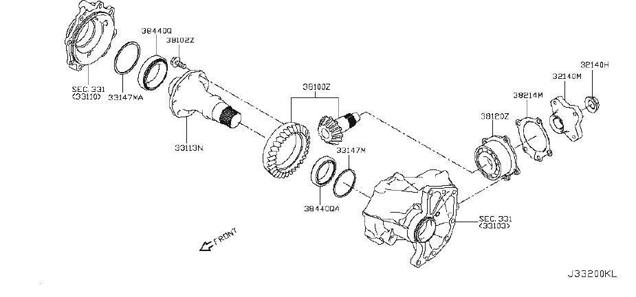 Nissan Rogue Shim Adjust, Hypoid Gear. AWD, SELECT, WHEEL