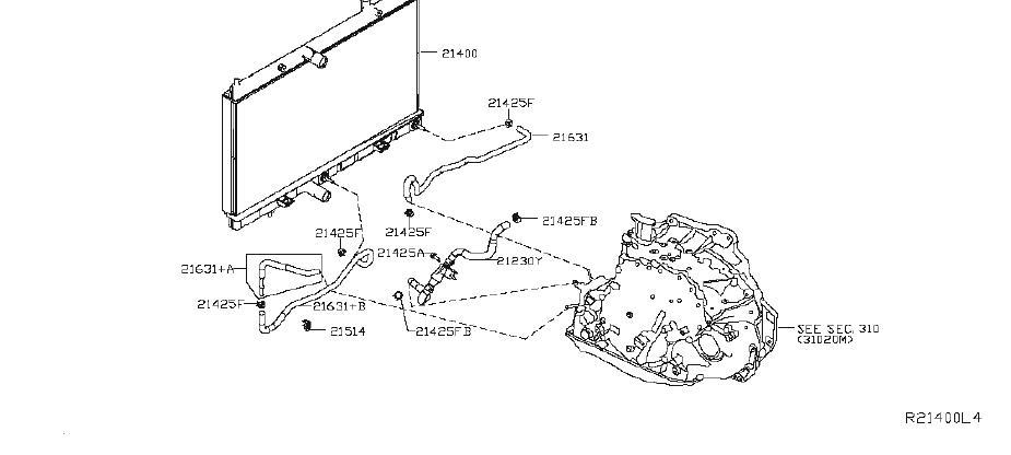 Nissan Rogue Automatic Transmission Oil Cooler Hose