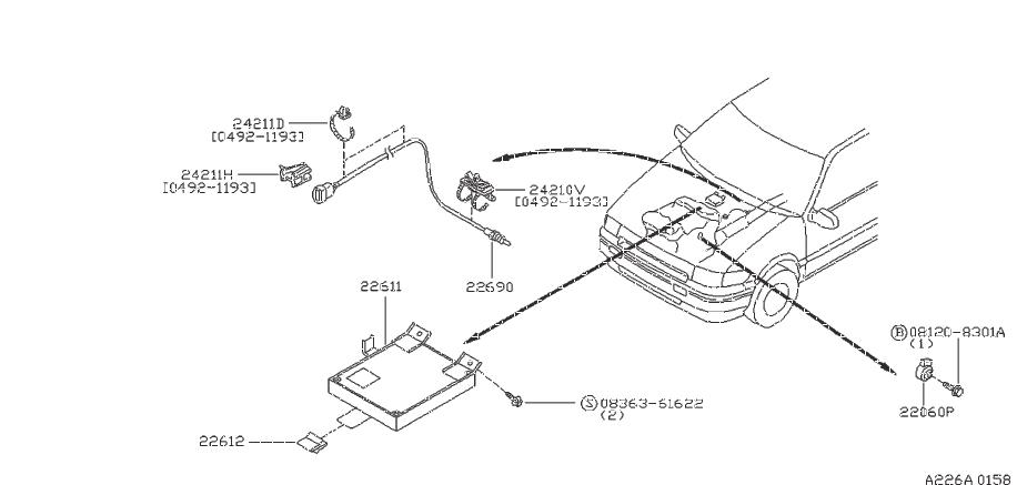 Nissan Maxima Clip EGI Harness, B. Clip Wiring Harness, C