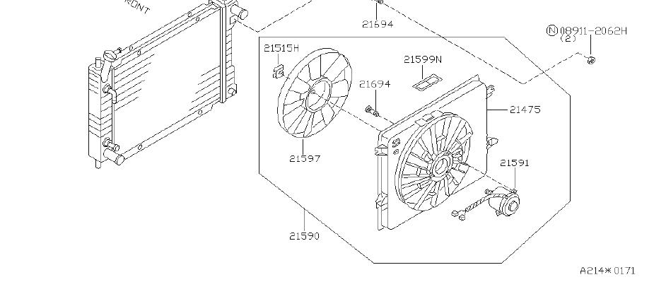 Nissan Quest Engine Cooling Fan Motor. SHROUD, RADIATOR
