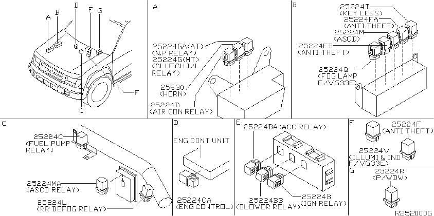 Nissan Xterra Relay Air Conditioner. Relay EGI. Relay Fog