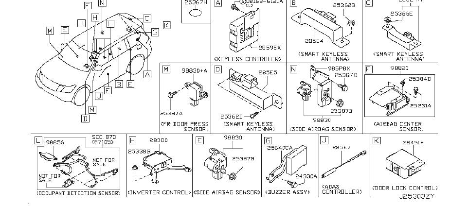 Nissan Armada Air Bag Control Module. BODY, DASH, INST