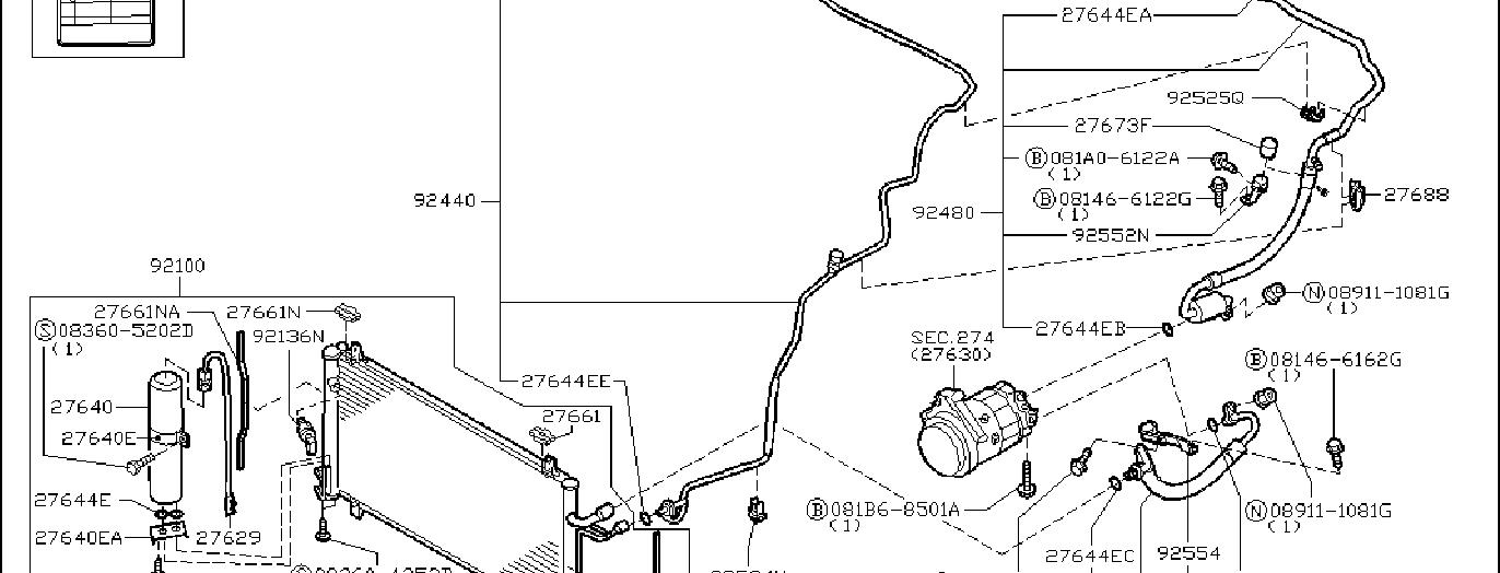Nissan 350Z A/c refrigerant line clip. Tank, liquid