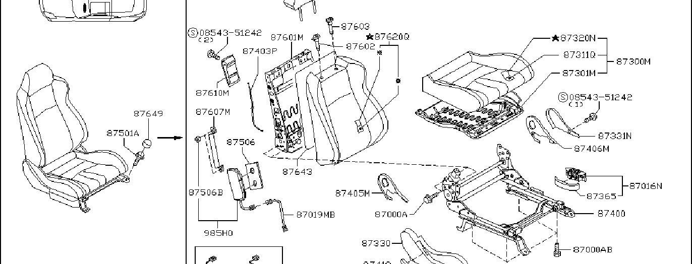 Nissan 350Z Seat Cushion Foam (Front). BAG, AIR, SIDE