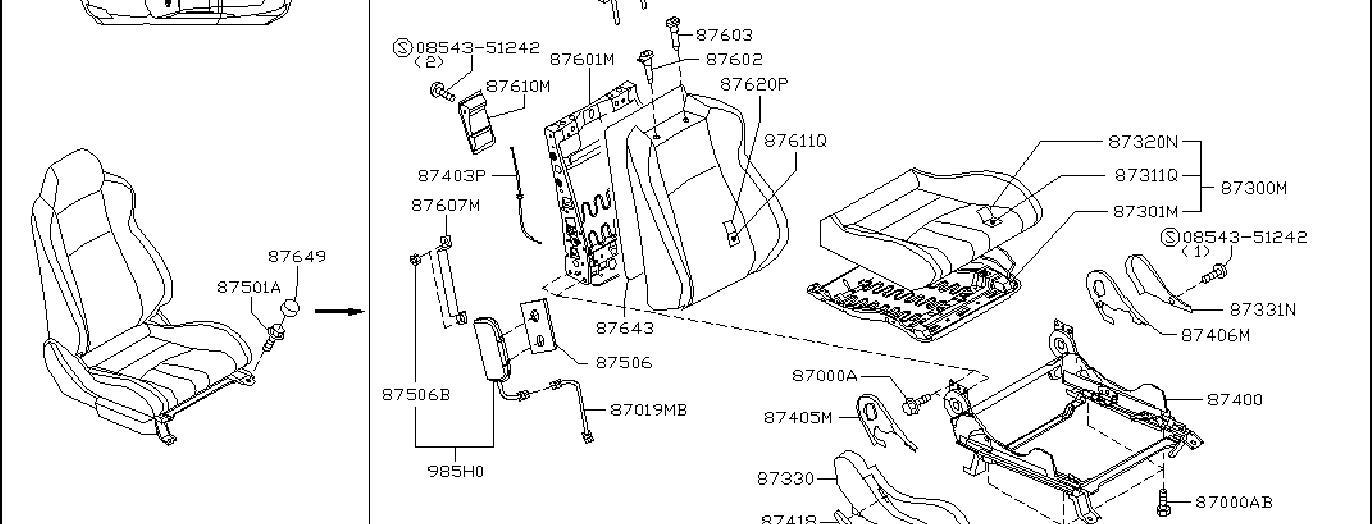 Nissan 350Z Seat Back Recliner Adjustment Mechanism Cover