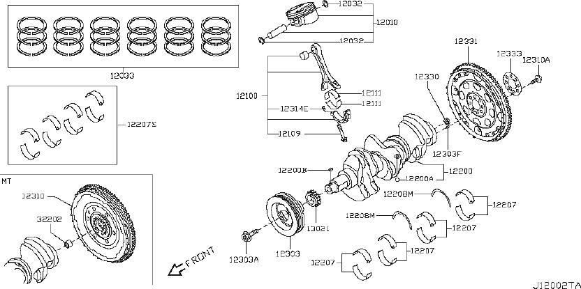 Nissan 370Z Key Crankshaft. BEARING, SELECT, ILLUSTRATION
