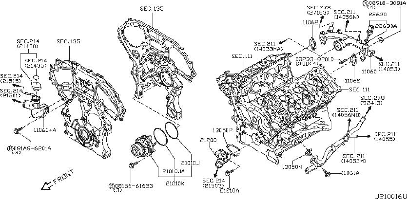 Nissan 370Z Engine Water Pump. OIL, COOLING, COOLER