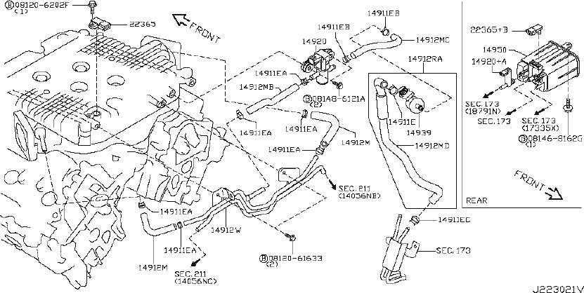 Nissan 370Z Emission Check Valve. VAC, EMISSIONS, CASISTER