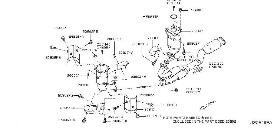 Nissan Murano Catalytic Converter Heat Shield (Lower