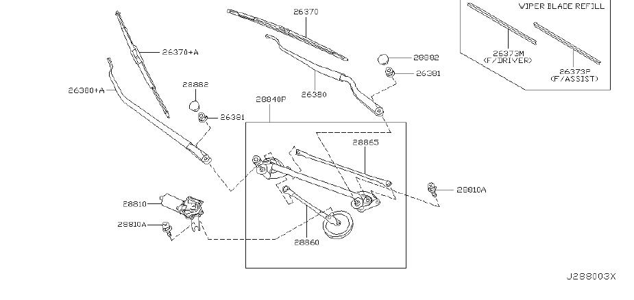 Nissan Murano Windshield Wiper Linkage. System, Electrical