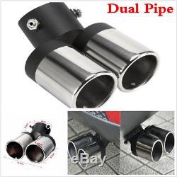 bent chrome stainless steel auto car exhaust dual pipe muffler tip tailpipes tailpipes centre pipes exhausts exhaust parts