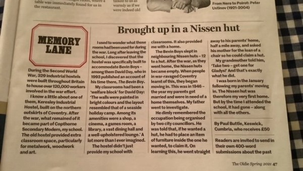 Brought up in a Nissen Hut article