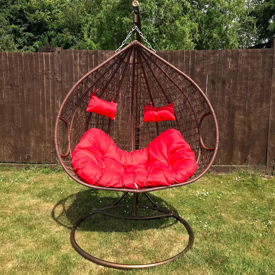 Double Egg Chair Double Outdoor Rattan Hanging Egg Chair Red Cushions