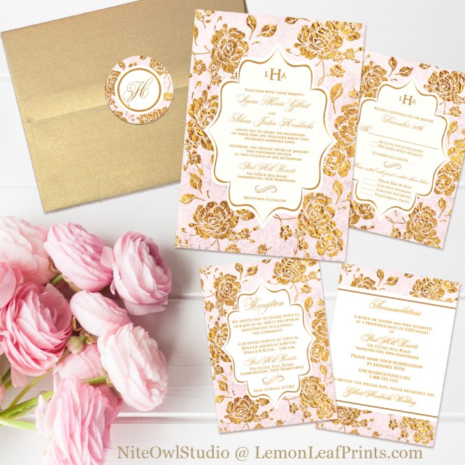 Vintage blush pink gold and ivory rose floral monogram wedding invitation set
