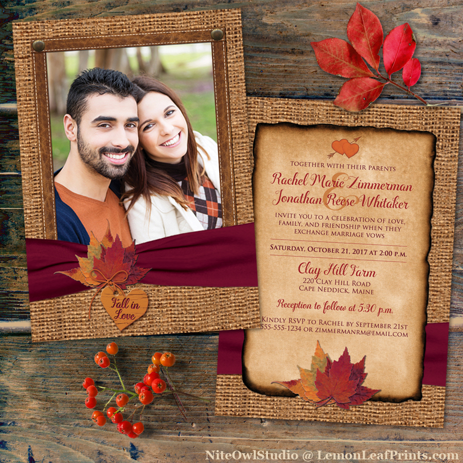 Rustic Burlap Leaves Fall Photo Wedding Invitation